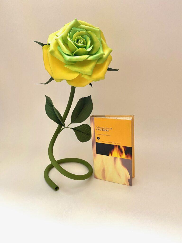 Rosa in isolon gialla sfumature verdi